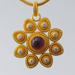 Flower Ruby & Diamond Pendant